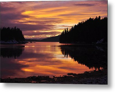 Amalga Harbor Sunset Metal Print by Cathy Mahnke