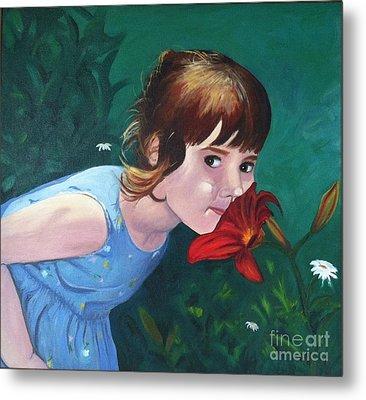 Amanda Smells The Flower Metal Print