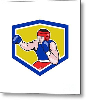 Amateur Boxer Boxing Shield Cartoon Metal Print