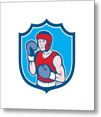 Amateur Boxer Stance Shield Cartoon Metal Print