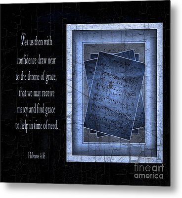 Amazing Grace In Blue With Scripture Metal Print by Julie Dant