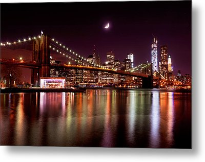 Metal Print featuring the photograph Amazing New York Skyline And Brooklyn Bridge With Moon Rising by Mitchell R Grosky