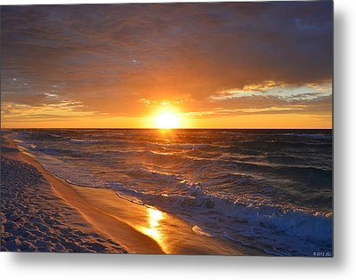 Metal Print featuring the photograph Amazing Sunrise Colors And Waves On Navarre Beach by Jeff at JSJ Photography