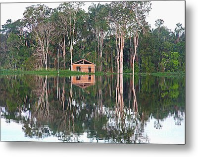 Metal Print featuring the photograph Amazon Reflections With Abandoned House by Nareeta Martin