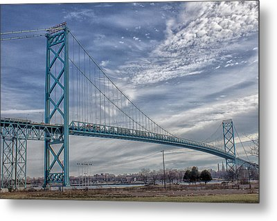 Ambassador Bridge From Detroit Mi To Windsor Canada Metal Print