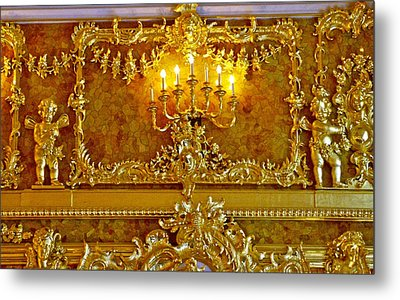 Amber Covers The Walls In This Room In Catherine's Palace In Pushkin-russia Metal Print by Ruth Hager