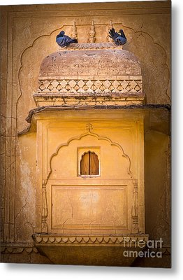 Amber Fort Birdhouse Metal Print by Inge Johnsson