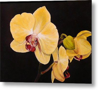 Metal Print featuring the painting Amber Orchids by Sandra Nardone