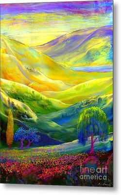 Wildflower Meadows, Amber Skies Metal Print by Jane Small