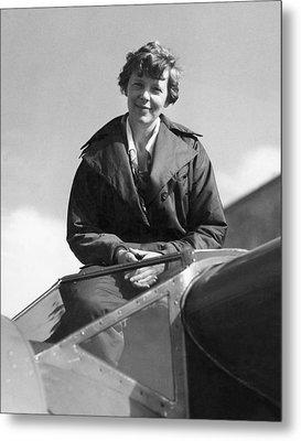 Amelia Earhart In Cockpit Metal Print by Underwood Archives