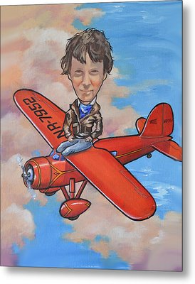 Metal Print featuring the painting Amelia Earhart by Murray McLeod