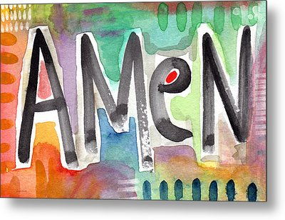 Amen- Colorful Word Art Painting Metal Print by Linda Woods