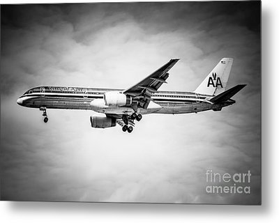 Amercian Airlines Airplane In Black And White Metal Print