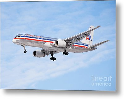 Amercian Airlines Boeing 757 Airplane Landing Metal Print by Paul Velgos