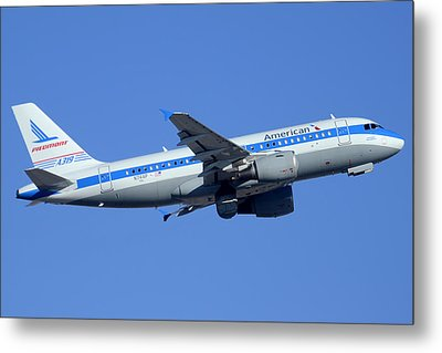 American Airbus A319-112 N744p Piedmont Pacemaker Phoenix Sky Harbor December 22 2014 Metal Print by Brian Lockett