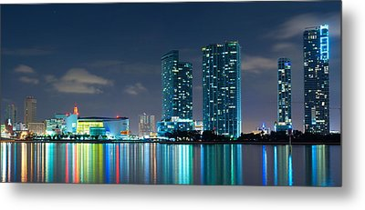 Metal Print featuring the photograph American Airlines Arena And Condominiums by Carsten Reisinger