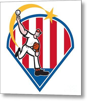 American Baseball Pitcher Star Metal Print by Aloysius Patrimonio