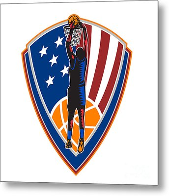 American Basketball Player Dunk Ball Shield Retro Metal Print by Aloysius Patrimonio