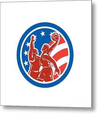 American Basketball Player Dunk Block Circle Retro Metal Print by Aloysius Patrimonio