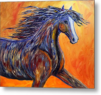 Metal Print featuring the painting American Beauty Abstract Horse Painting by Jennifer Godshalk