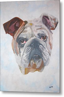 Metal Print featuring the painting American Bulldog Pet Portrait by Tracey Harrington-Simpson