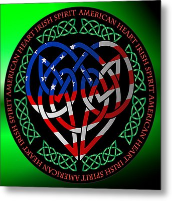 Metal Print featuring the digital art American Celtic Heart by Ireland Calling