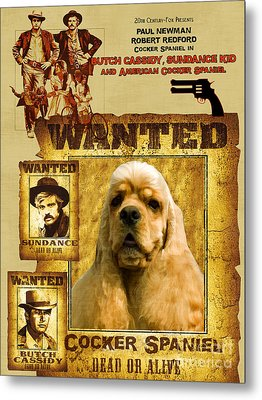 American Cocker Spaniel Art Canvas Print - Butch Cassidy And The Sundance Kid Movie Poster Metal Print by Sandra Sij