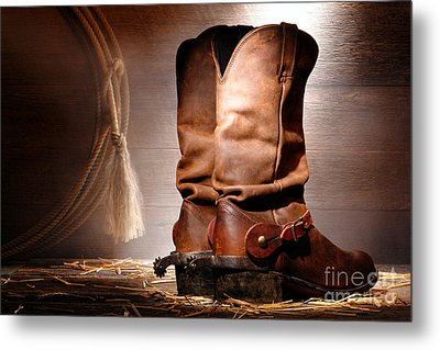 American Cowboy Boots Metal Print by Olivier Le Queinec