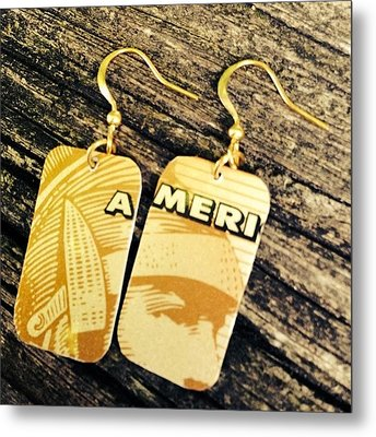 American Express Ooak Earrings Designed Metal Print by Marianna Mills