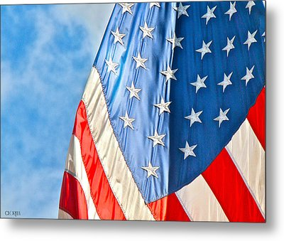 Metal Print featuring the photograph American Flag And All It's Glory by Lorella  Schoales