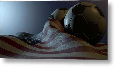 American Flag And Soccer Ball Metal Print by Allan Swart