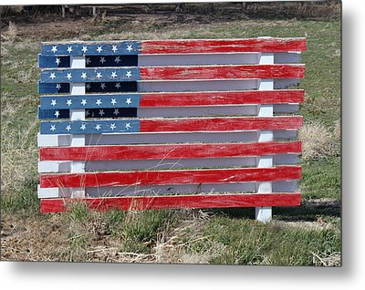 American Flag Country Style Metal Print by Sylvia Thornton