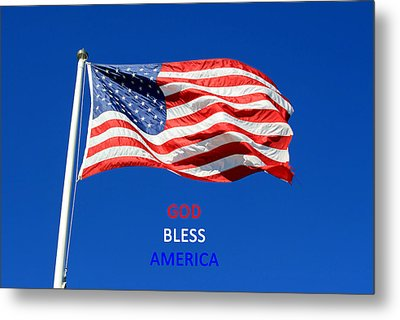 Metal Print featuring the photograph American Flag - God Bless America by Barbara West
