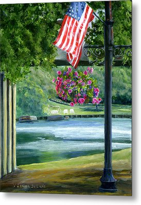 Metal Print featuring the painting American Flag In Natchitoches Louisiana by Lenora  De Lude