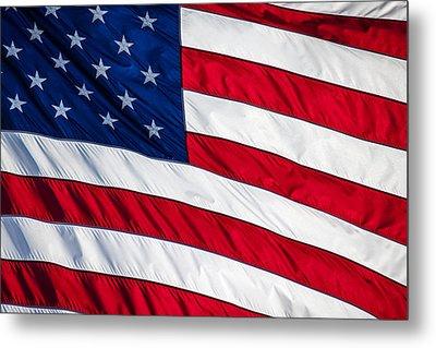 American Flag Metal Print by Leslie Banks