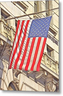 Metal Print featuring the photograph American Flag N.y.c 1 by Joan Reese