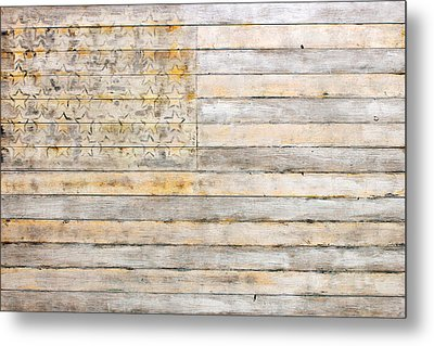 American Flag On Distressed Wood Beams White Yellow Gray And Brown Flag Metal Print
