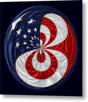 American Flag Orb Metal Print by Paulette Thomas