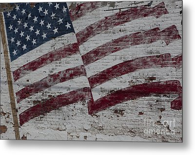 Metal Print featuring the photograph American Flag Painted On Brick Wall by Keith Kapple