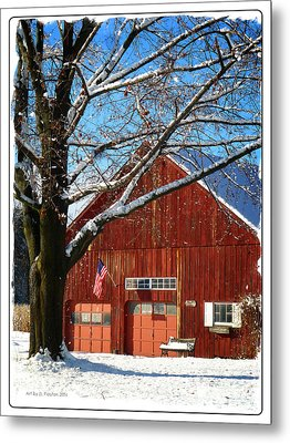 American Flag Red Barn Metal Print