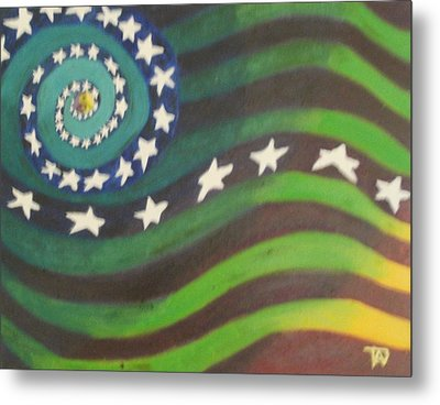Metal Print featuring the painting American Flag Reprise by Thomasina Durkay