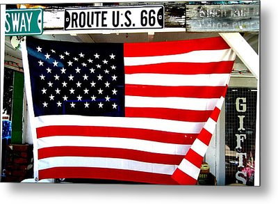 American Flag Route 66 Metal Print