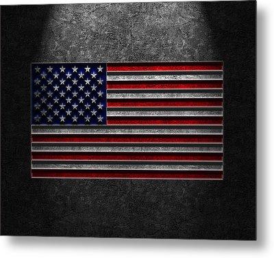 Metal Print featuring the digital art American Flag Stone Texture by Brian Carson