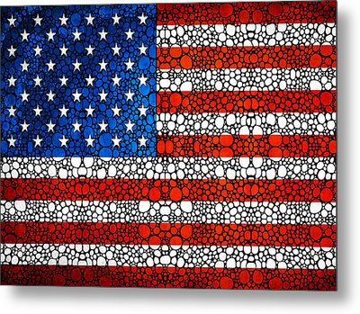 American Flag - Usa Stone Rock'd Art United States Of America Metal Print