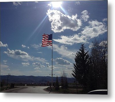 American Flag Waving In The Sunrays Metal Print by Shawn Hughes