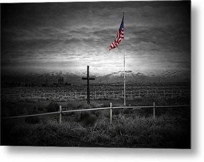 American Flag With Cross Metal Print
