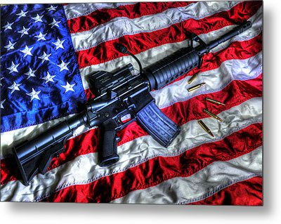 American Flag With Rifle Metal Print