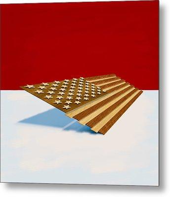 American Flag Wood Metal Print