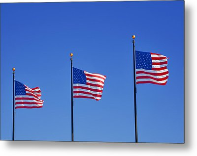 American Flags - Navy Pier Chicago Metal Print by Christine Till