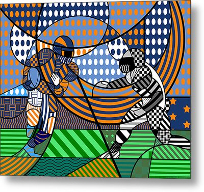 Metal Print featuring the digital art American Football - Broncos by Randall Henrie